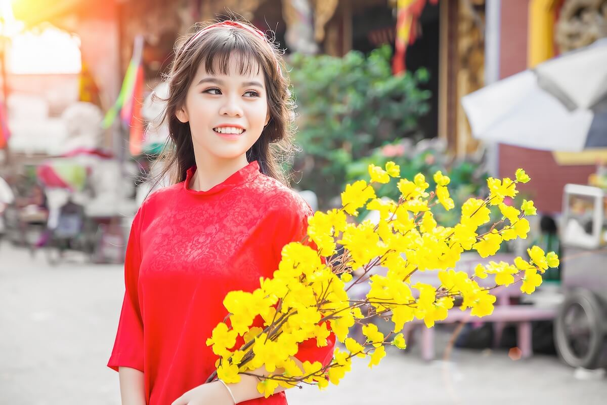 visiting flower market on Tet holiday in Vietnam