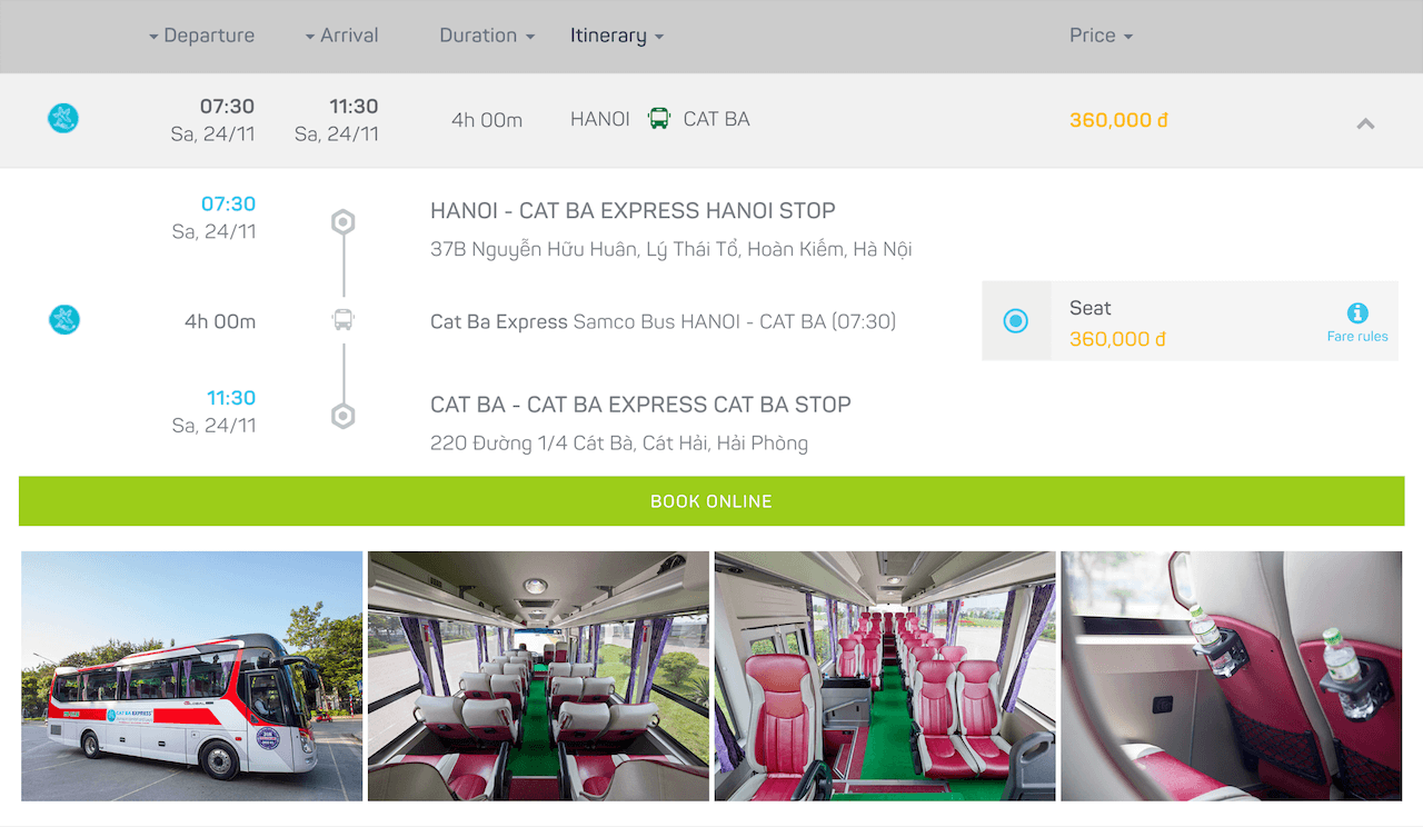how to get from Hanoi to Cat Ba Express bus