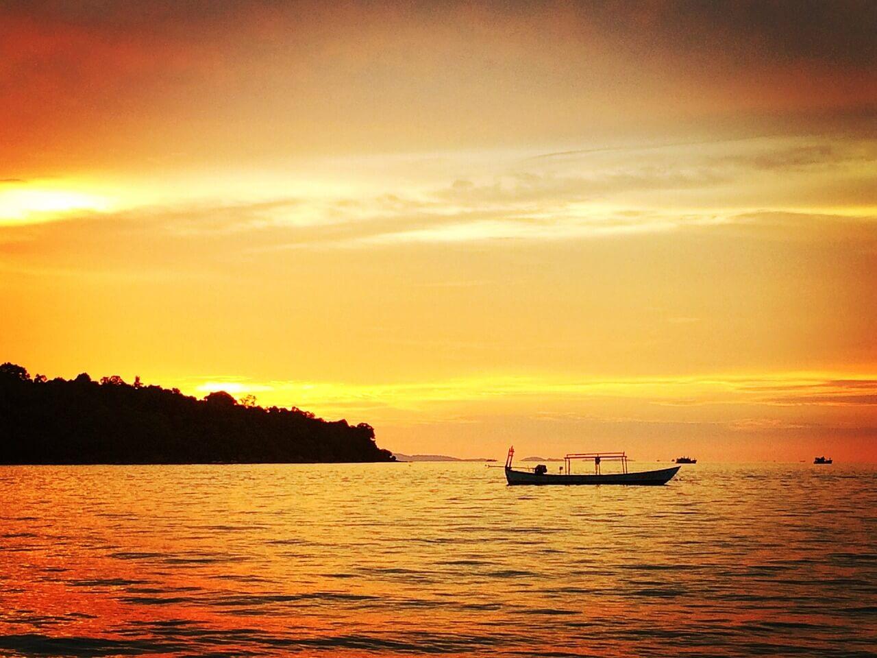 sunset in Phnom Penh Cambodia