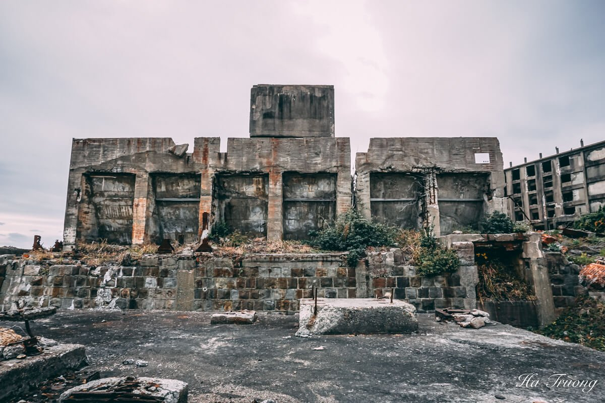 buildings in Hashima Gunkanjima Battleship island Nagasaki Japan