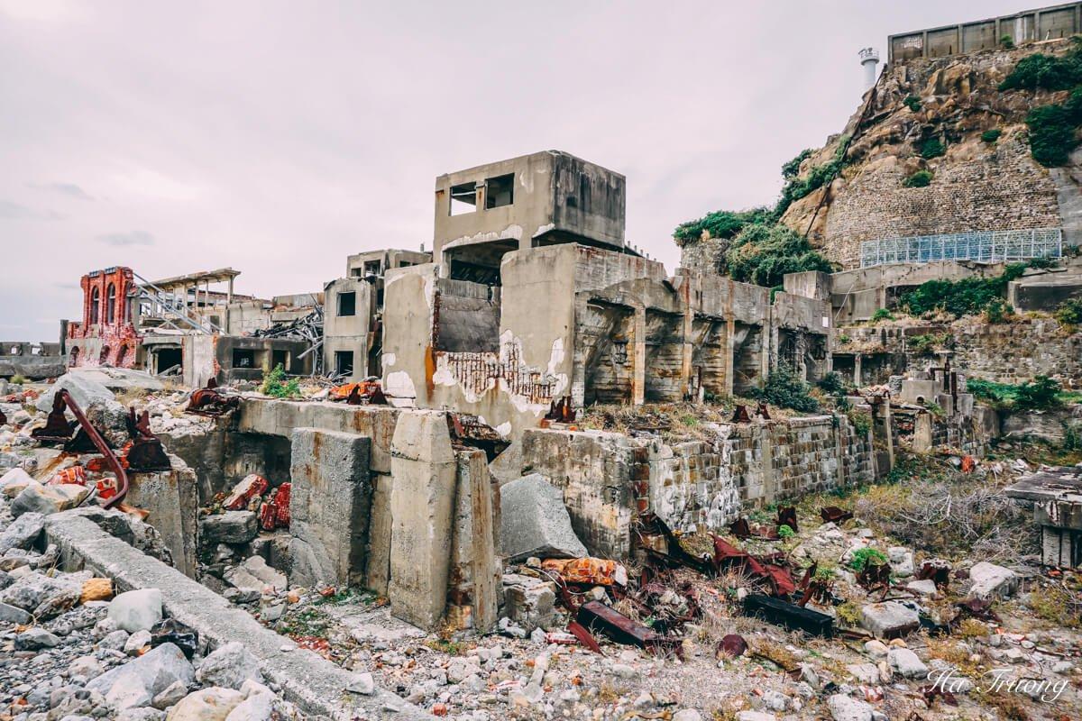 ruins in Hashima Gunkanjima Battleship island Nagasaki Japan