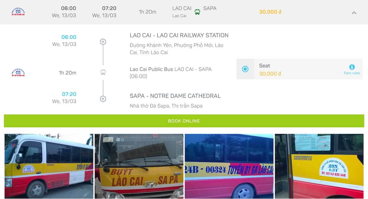 bus timetable from Lao Cai to Sapa Vietnam