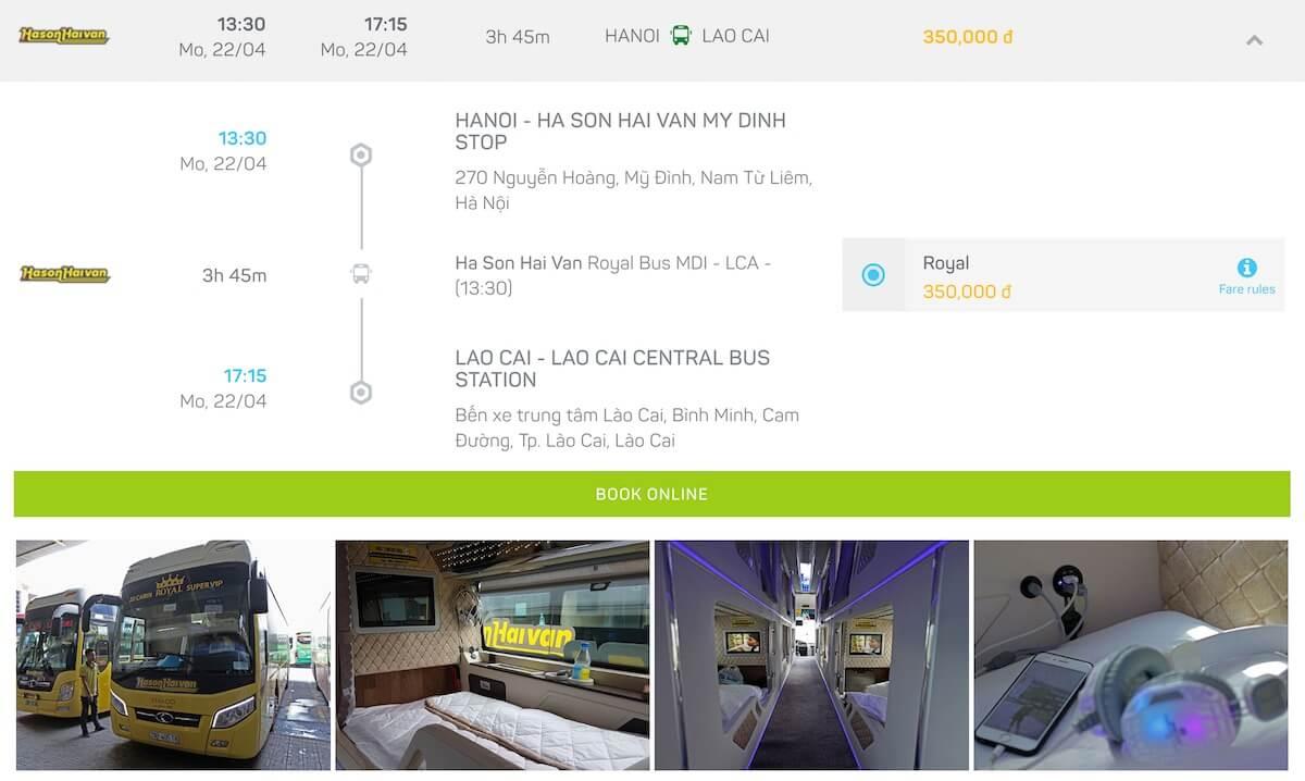 bus from Hanoi to Lao Cai Vietnam