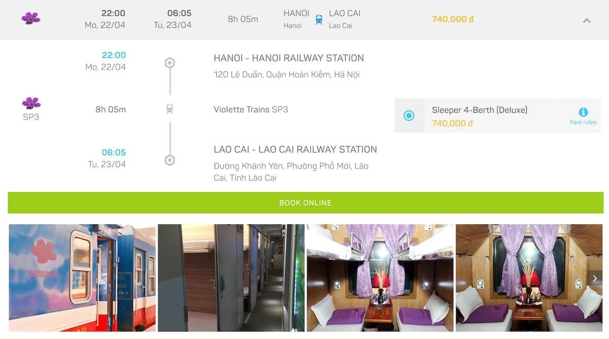 train from Hanoi to Lao Cai Vietnam