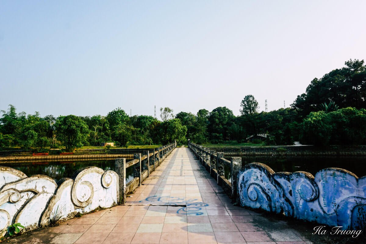 view of Thuy Tien lake abandoned water park Hue Vietnam