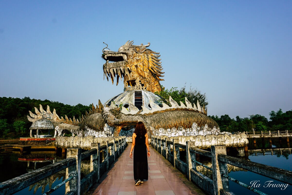 dragon house aquarium at Thuy Tien lake abandoned water park Hue Vietnam