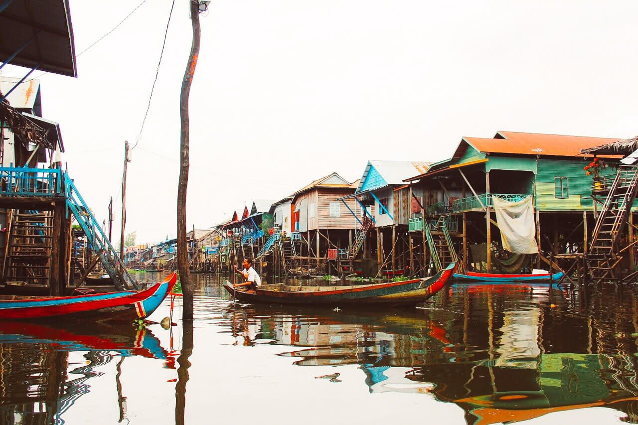 Kompong Phluk floating village in Siem Reap Cambodia