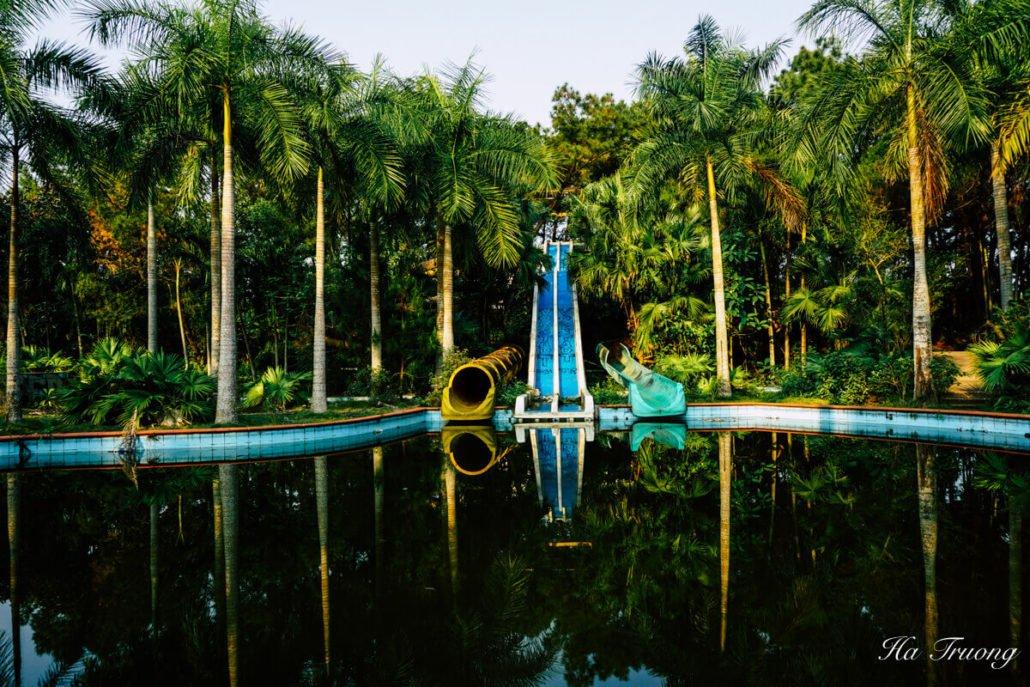 Thuy Tien lake abandoned water park.