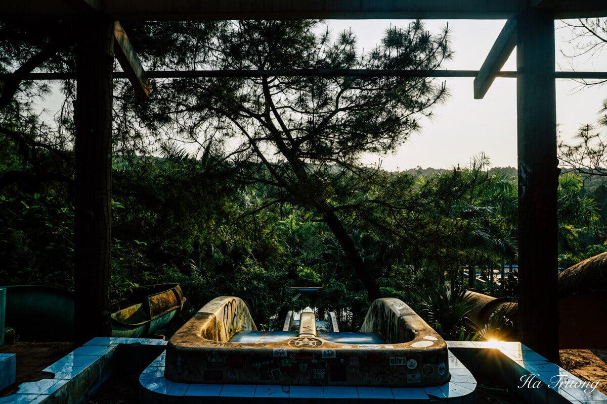 water slides in Thuy Tien Lake abandoned water park Hue Vietnam