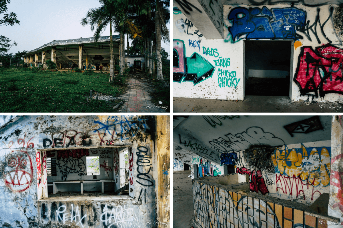 graffiti on the stadium of Thuy Tien abandoned water park