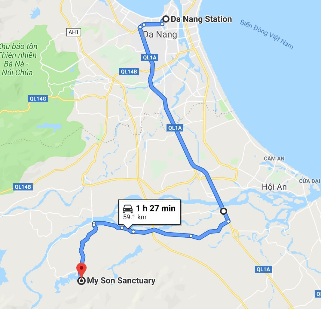 how to get from Da Nang to My Son Sanctuary Vietnam