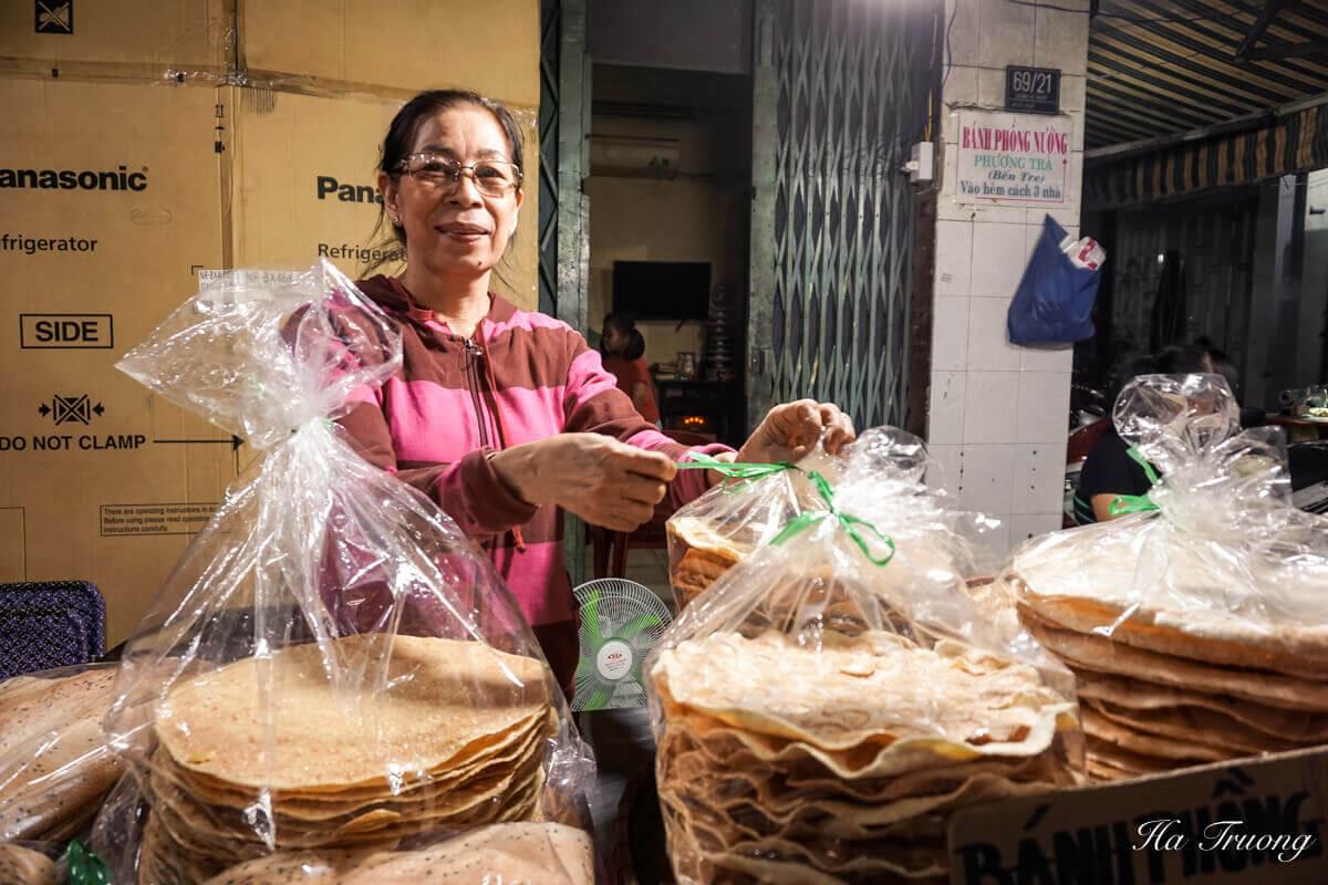 Banh phong nuong Cambodian market Saigon Vietnam