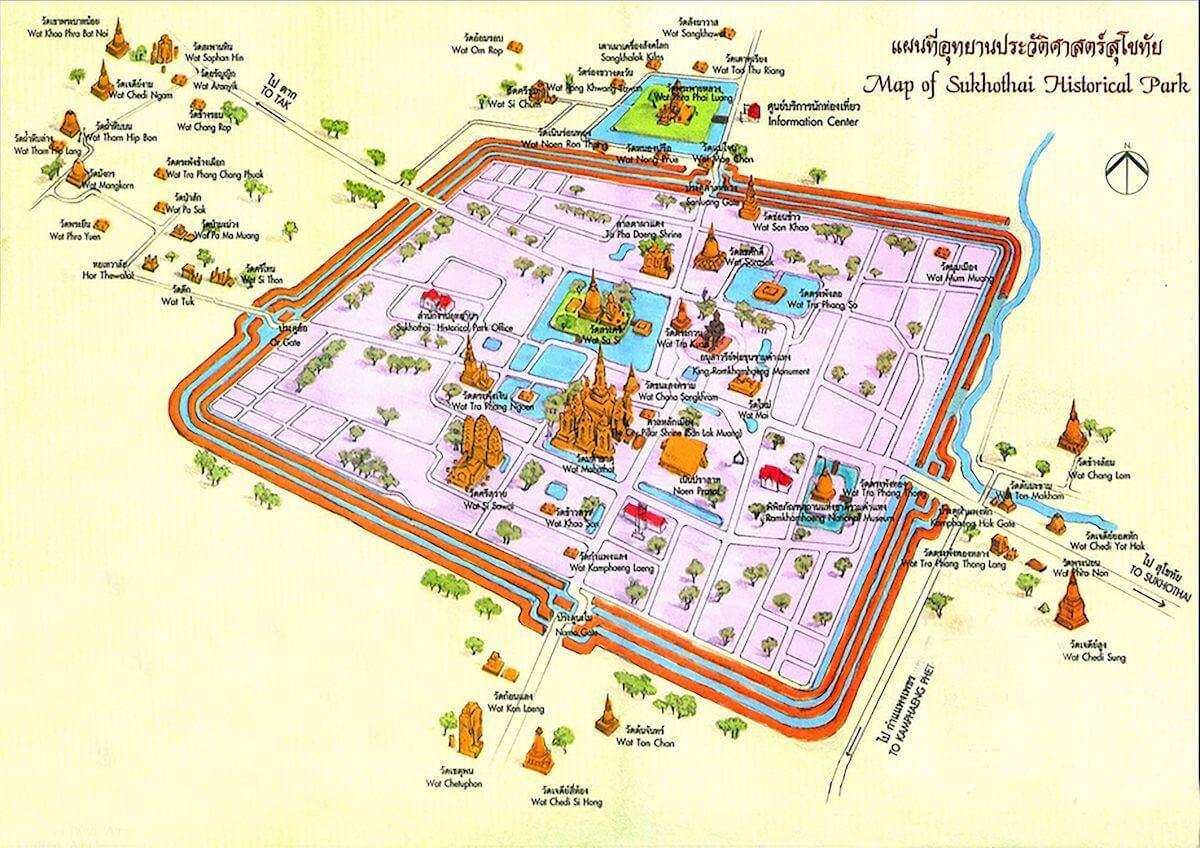 Sukhothai historical park map