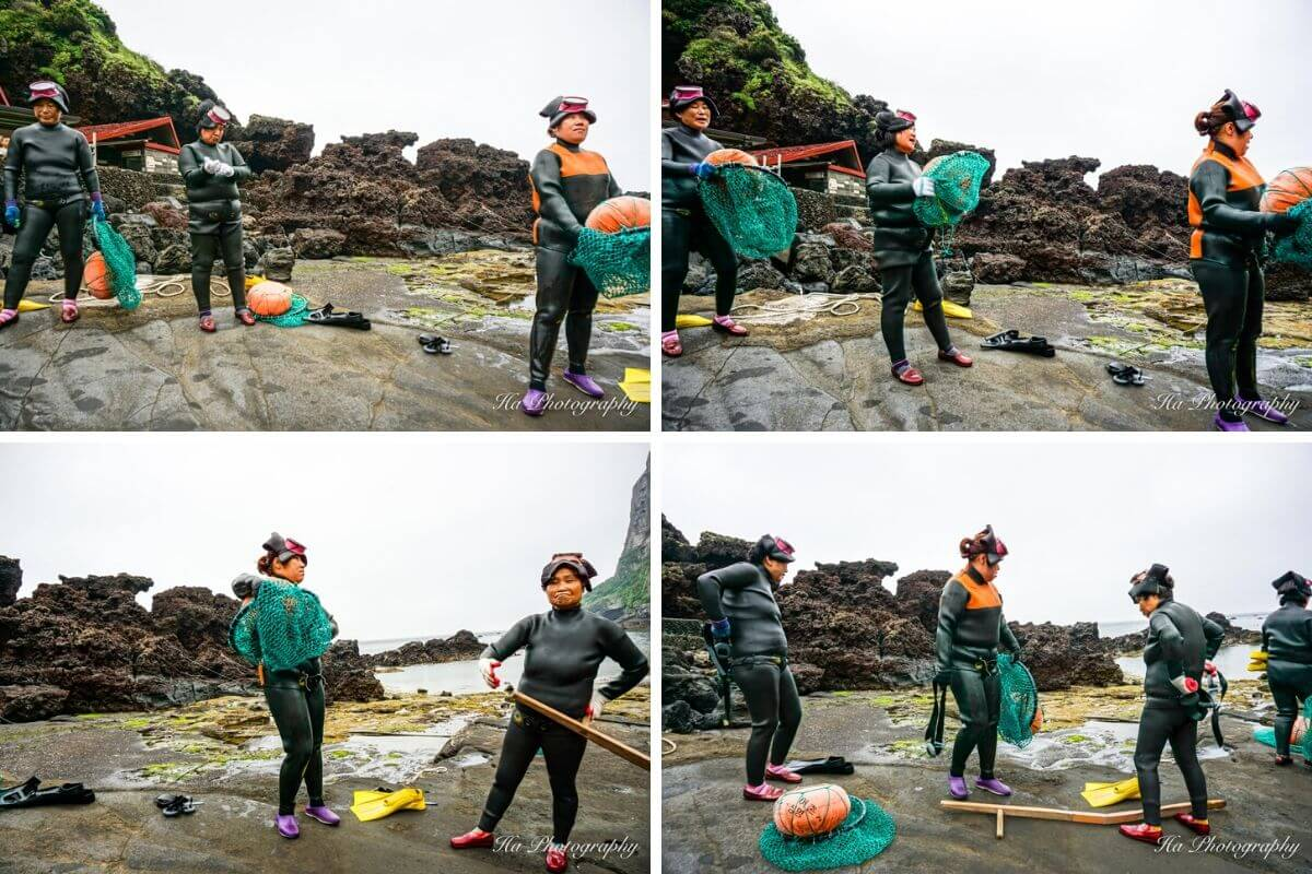 Haenyeo female divers show Jeju South Korea