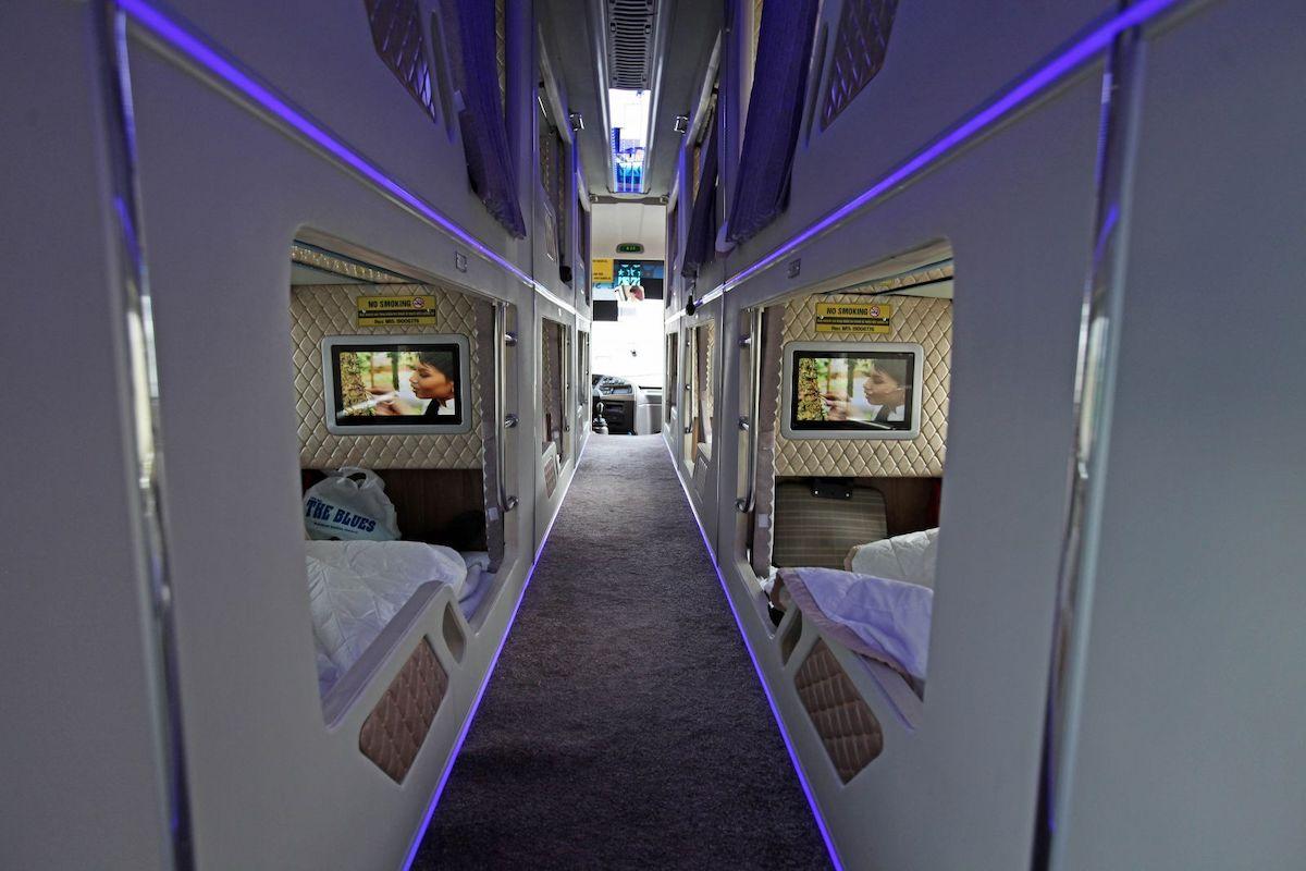 Vietnam sleeper bus cabin