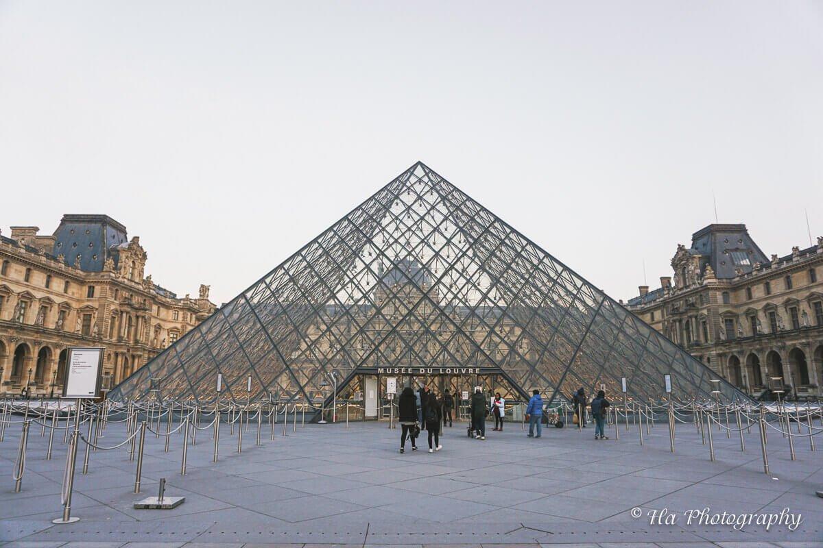 Louvre Pyramid Paris France.