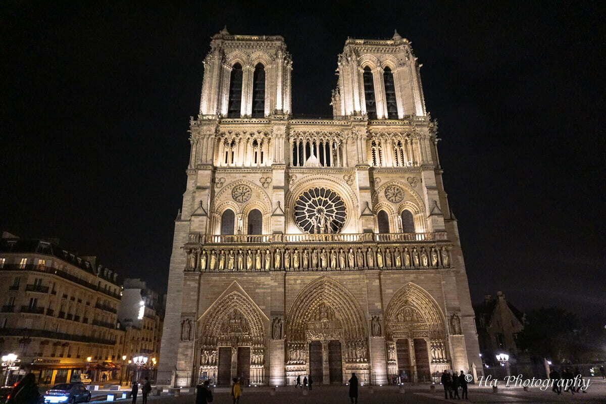Paris cathedral night France.