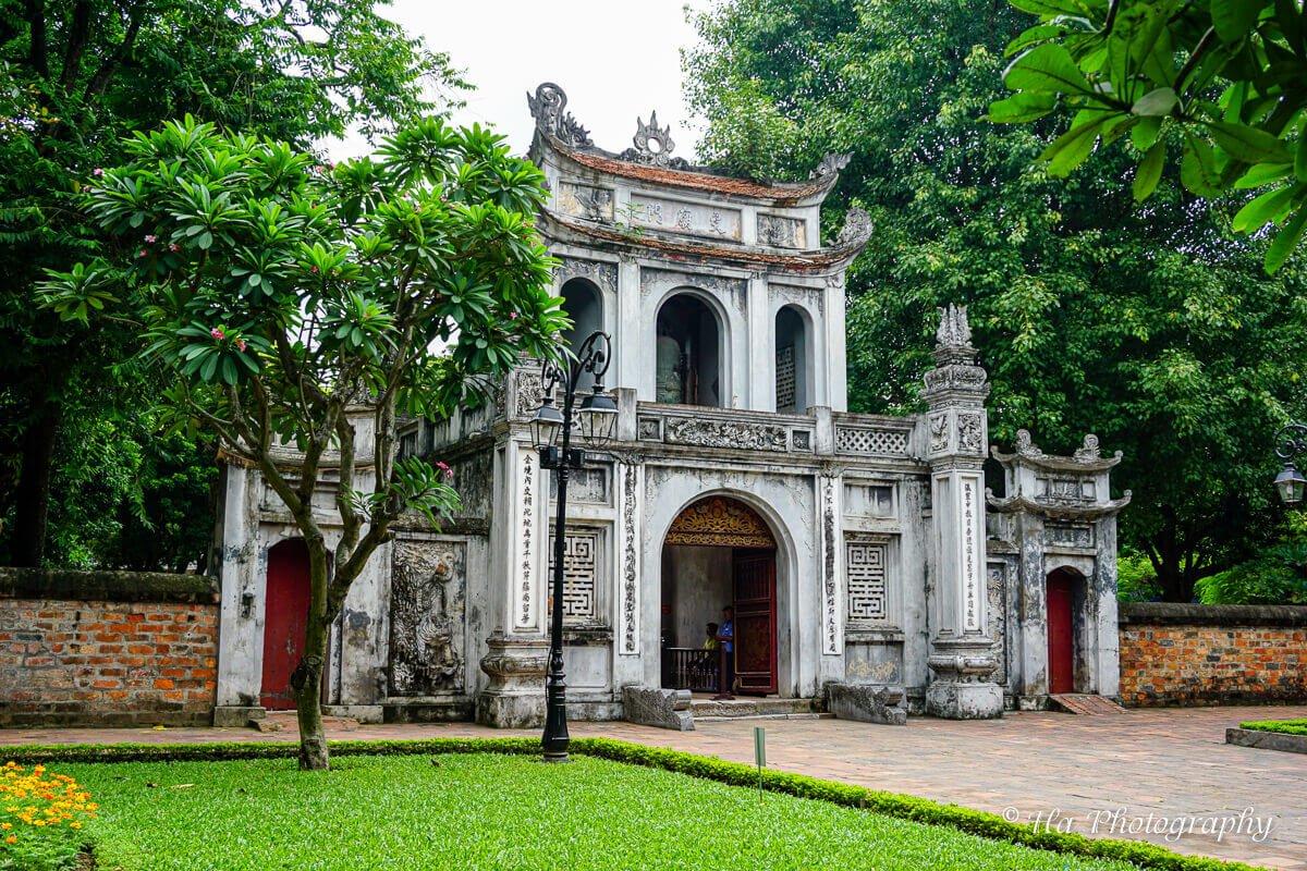 Temple Of Literature gate Hanoi Vietnam