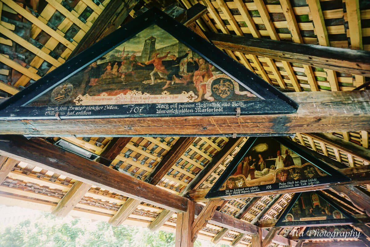 Chapel bridge paintings Lucerne Switzerland.