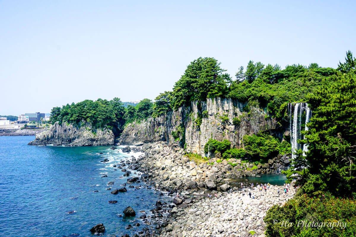 Jeongbang falls Jeju island South Korea.