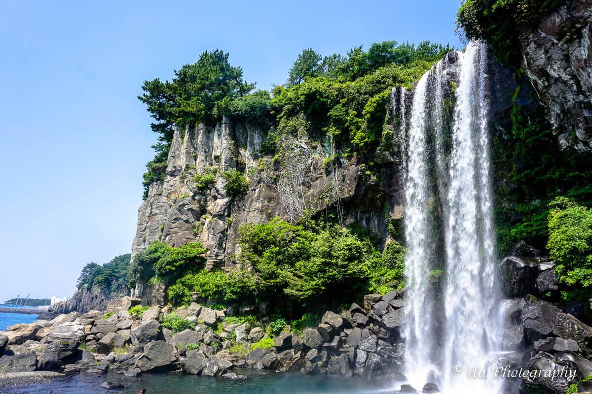 Jeongbang falls Jeju Korea.