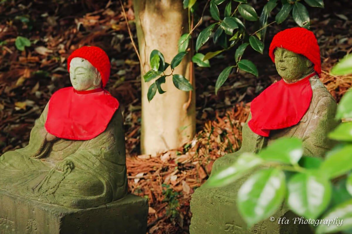 Mount Takao statues Japan.