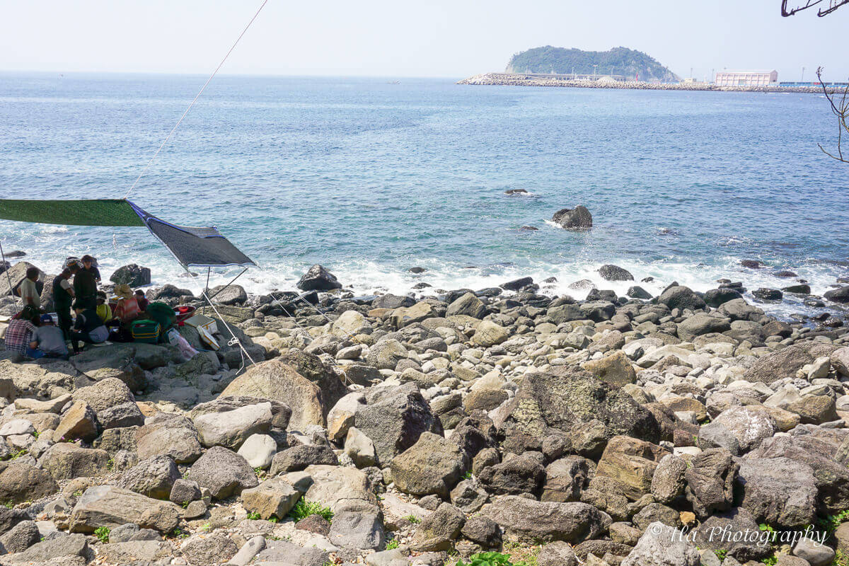 female divers shop Jeju island Korea.
