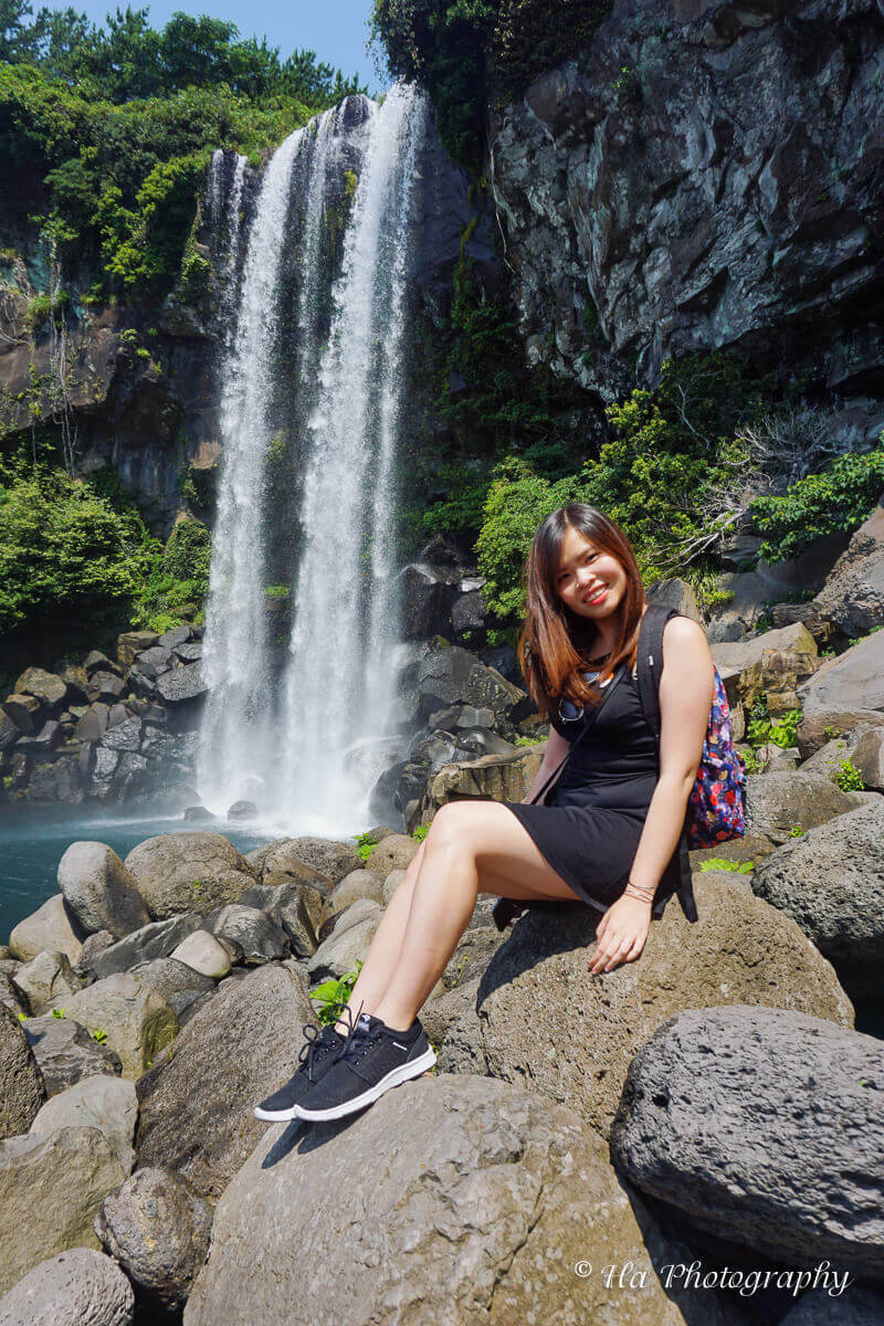 waterfall jeju island Korea.