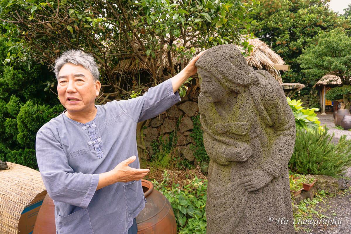 Folk Village mother statue Jeju Korea.