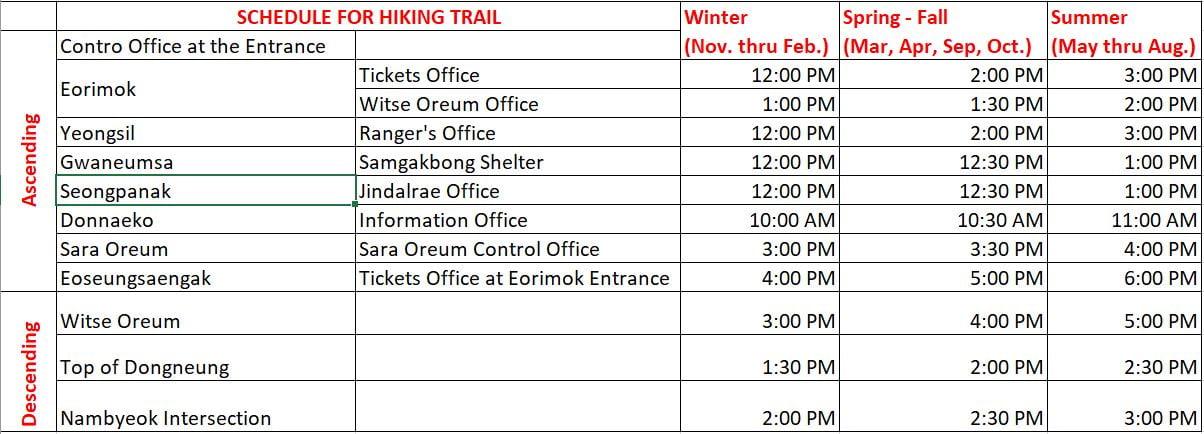 Mount Hallasan hiking trail schedule Jeju Korea.