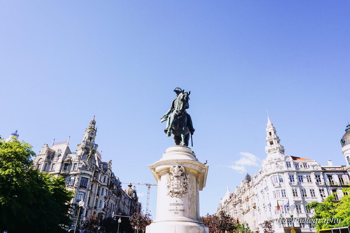 King Pedro statue Porto Portugal.