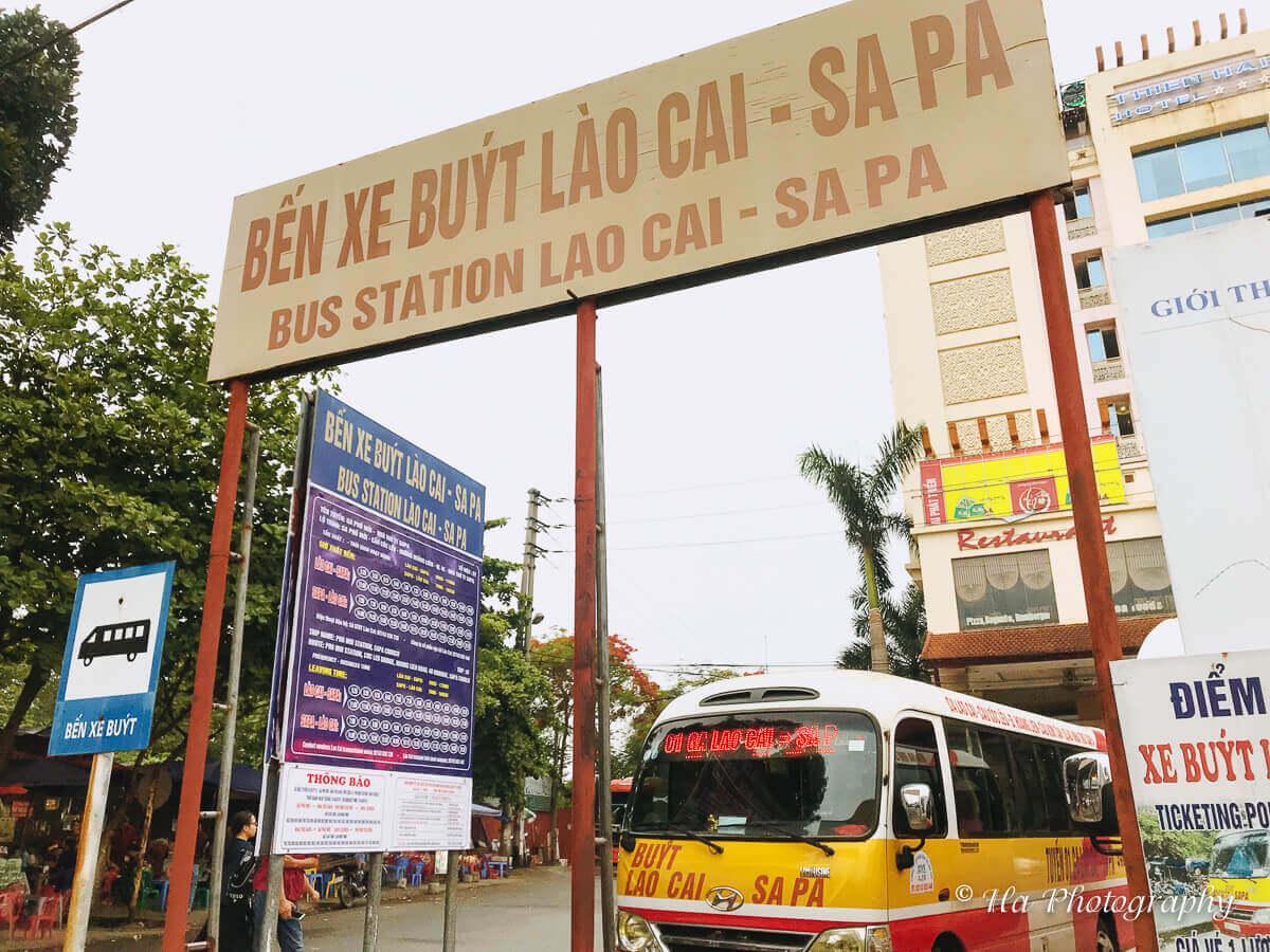Lao Cai Sapa bus stop Vietnam.