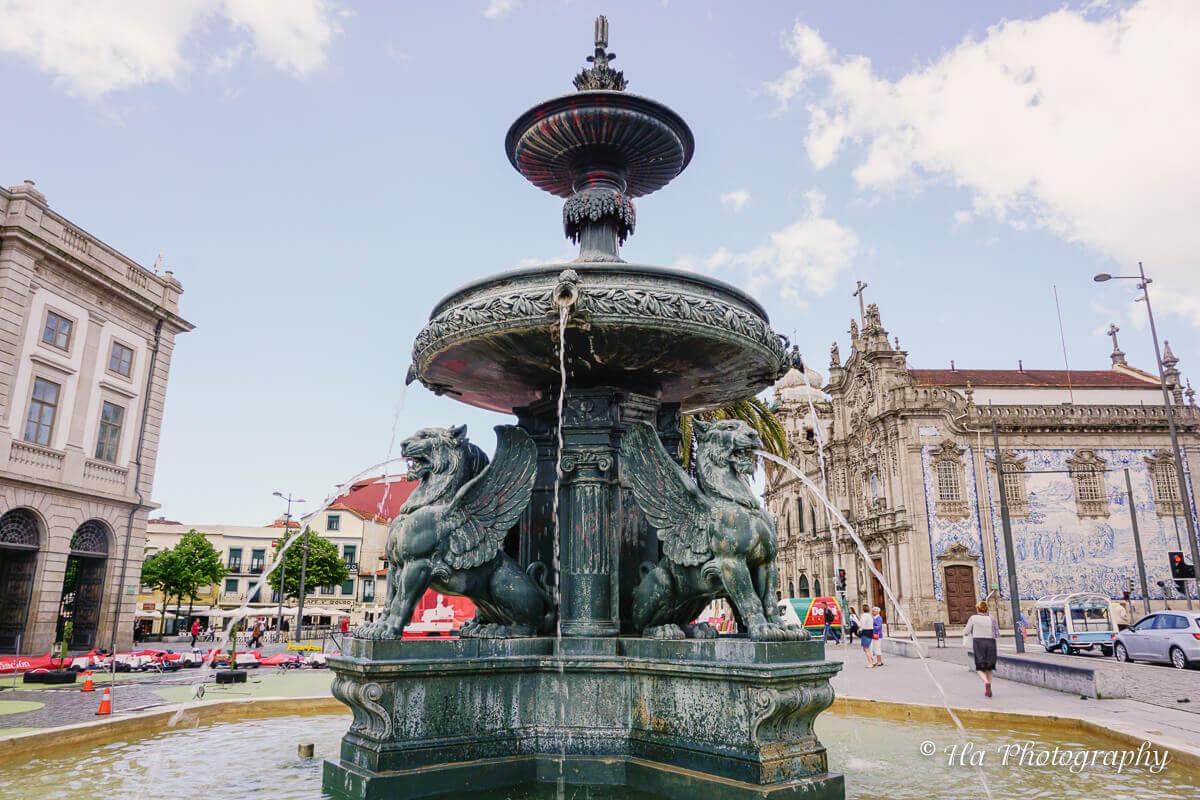 Lion Fountain Porto Portugal.
