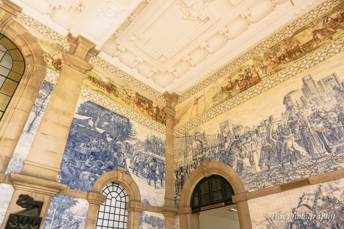 Sao Bento station drawings Porto Portugal.