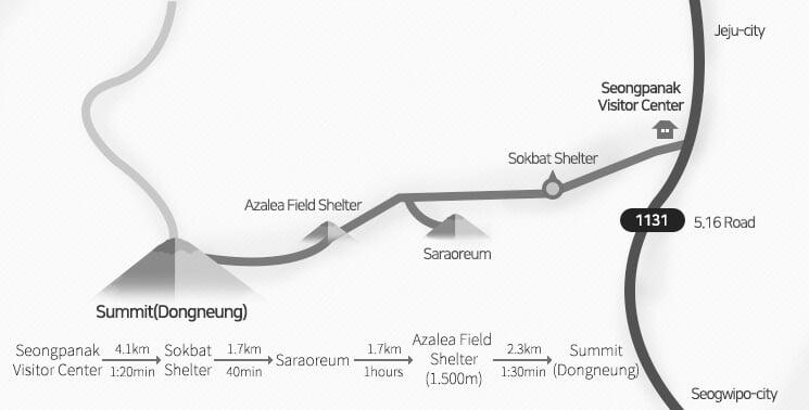 Seongpanak Trail map Jeju Korea.