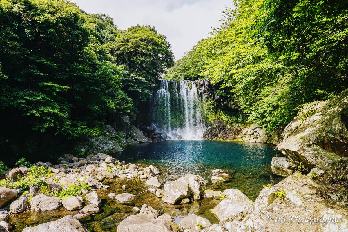 Cheonjeyeon falls Jeju Korea.