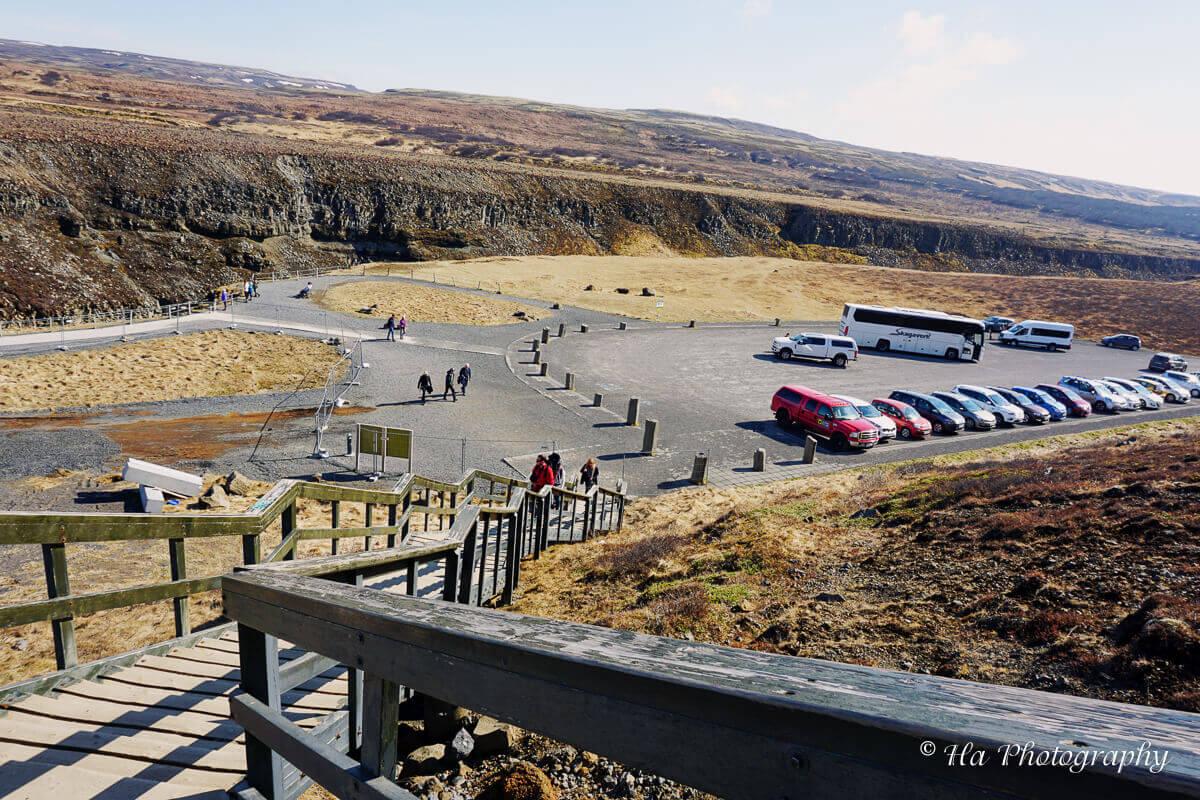 Gullfoss falls parking lot iceland.