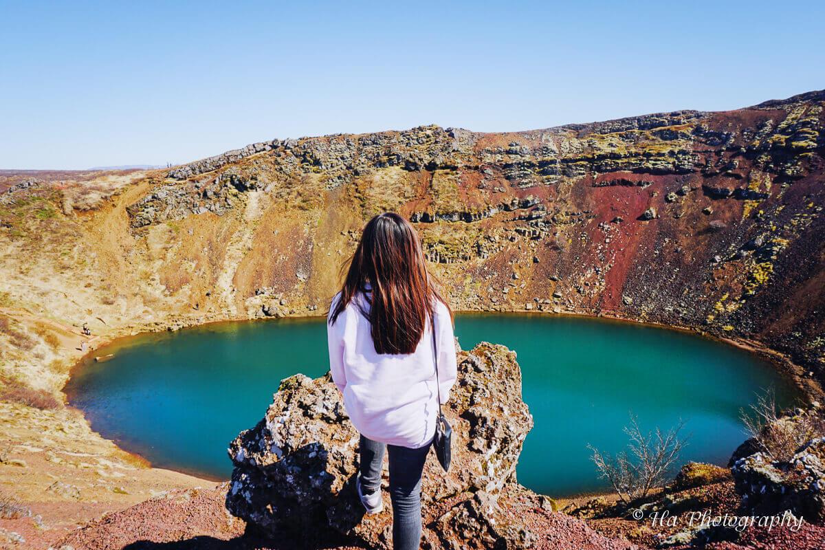 Kerid volcanic crater lake Iceland.